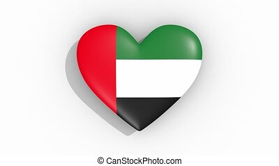 Heart in colors flag of United Arab Emirates, loop