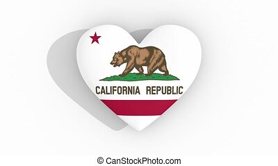 Heart in colors flag of US state California, loop