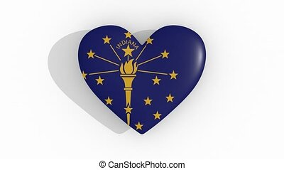 Heart in colors flag of US state Indiana, loop - Heart in...