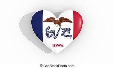 Heart in colors flag of US state Iowa, loop - Heart in...