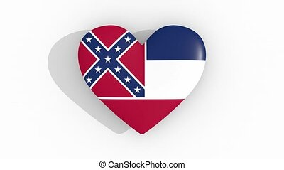 Heart in colors flag of US state Mississippi, loop - Heart...