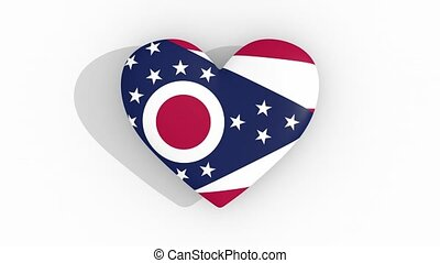 Heart in colors flag of US state Ohio, loop