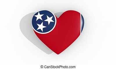 Heart in colors flag of US state Tennessee, loop