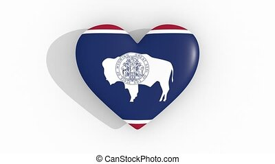 Heart in colors flag of US state Wyoming, loop - Heart in...