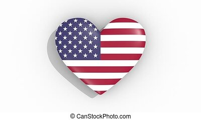 Heart in colors flag of USA pulses, loop - Heart in colors...