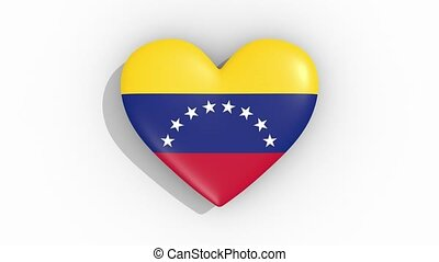 Heart in colors flag of Venezuela pulses, loop.