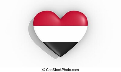 Heart in colors flag of Yemen pulses, loop.