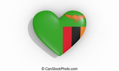 Heart in colors flag of Zambia pulses, loop.