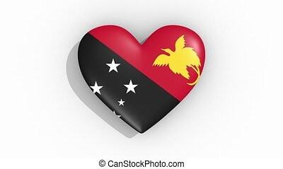 Heart in colors flag Papua New Guineapulses, loop - Heart in...
