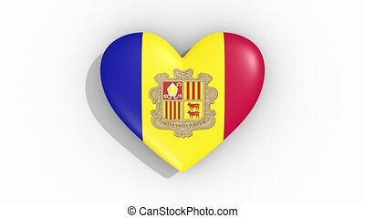 Heart in colors of flag of Andorra pulses, loop