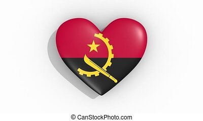 Heart in colors of flag of Angola pulses, loop