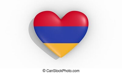 Heart in colors of flag of Armenia pulses, loop