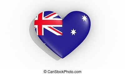 Heart in colors of flag of Australia pulses, loop