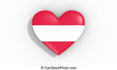 Heart in colors of flag of Austria pulses, loop