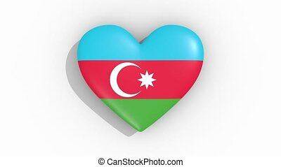 Heart in colors of flag of Azerbaijan pulses, loop