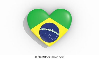 Heart in colors of flag of Brazil, pulses, loop