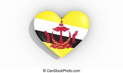 Heart in colors of flag of Brunei pulses, loop - Heart in...