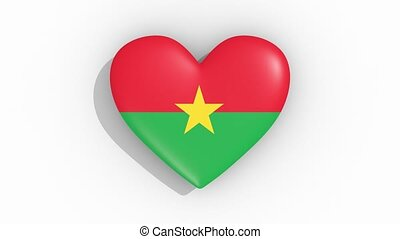 Heart in colors of flag of Burkina Faso pulses, loop.