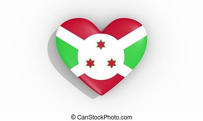 Heart in colors of flag of Burundi pulses, loop