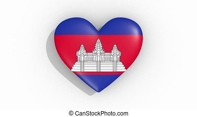 Heart in colors of flag of Cambodia pulses, loop