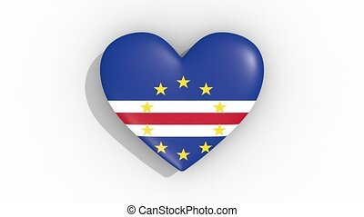 Heart in colors of flag of Cape Verde pulses, loop