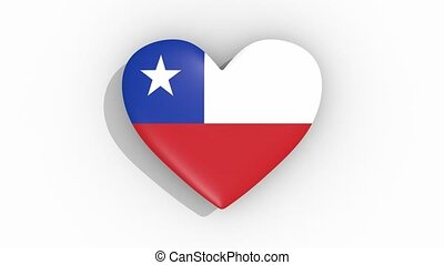 Heart in colors of flag of Chile pulses, loop