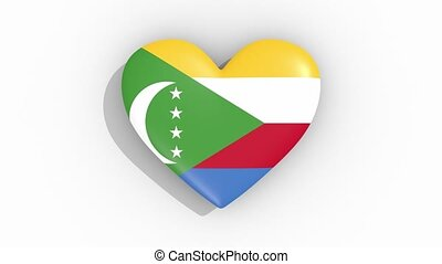 Heart in colors of flag of Comoros pulses, loop. - Heart in...