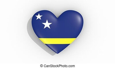 Heart in colors of flag of Curacao pulses, loop