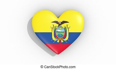 Heart in colors of flag of Ecuador pulses, loop.