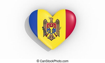 Heart in colors of flag of Moldova pulses, loop.