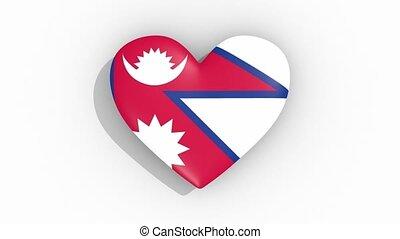 Heart in colors of flag of Nepal pulses, loop