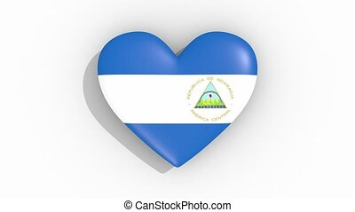 Heart in colors of flag of Nicaragua pulses, loop.