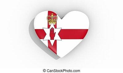Heart in colors of flag of Northern Ireland, loop - Heart in...