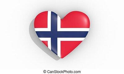 Heart in colors of flag of Norway pulses, loop.