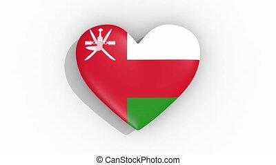 Heart in colors of flag of Oman pulses, loop.