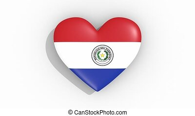 Heart in colors of flag of Paraguay pulses, loop.