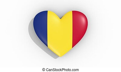 Heart in colors of flag of Romania pulses, loop.