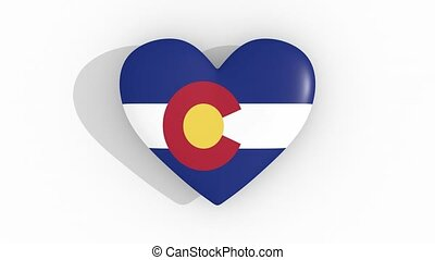 Heart in colors of flag of US state Colorado, loop