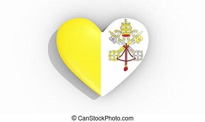 Heart in colors of flag of Vatican pulses, loop.