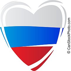 Heart in colors of Russian flag. Russian style.