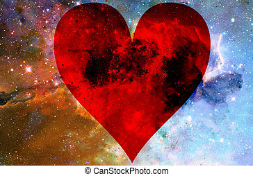 Heart in cosmic space, color cosmic abstract background.