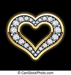 Heart in diamonds - Vector illustration of a heart in...