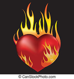 Heart love in fire icon tattoo. Valentine day passion illustration isolated on black.