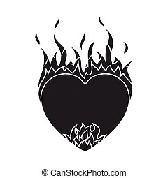 Heart in flame icon in black style isolated on white background. Romantic symbol stock vector illustration.