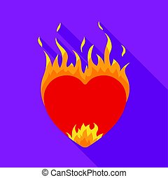 Heart in flame icon in flat style isolated on white background. Romantic symbol stock vector illustration.