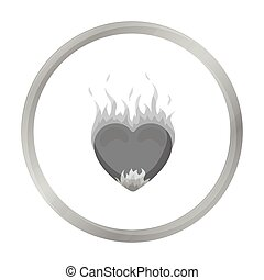 Heart in flame icon in monochrome style isolated on white background. Romantic symbol stock vector illustration.