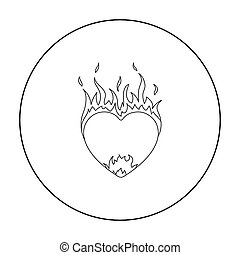 Heart in flame icon in outline style isolated on white background. Romantic symbol stock vector illustration.