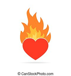 Heart in flame. Vector illustration
