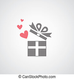 heart in gift box symbol on gray background