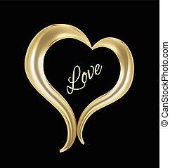 Heart in gold design logo
